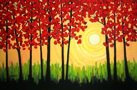 Autumn Tree Sunrise 4x6 Feet 196533 Paintings For Sale Simple Acrylic Paintings Easy Canvas Painting Tree Painting