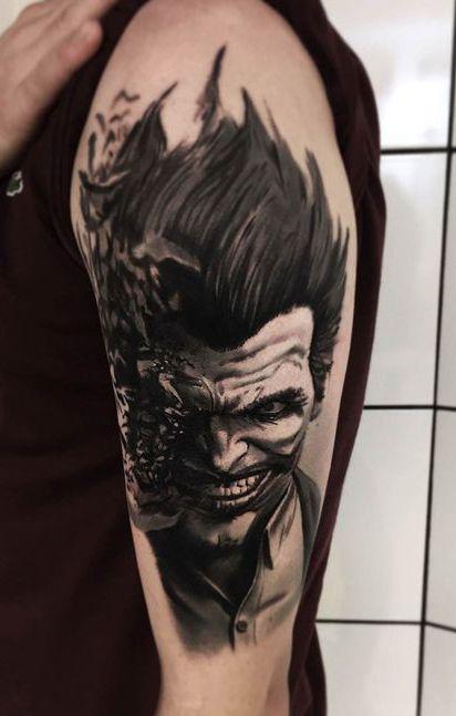 Batman Joker Tattoo : batman, joker, tattoo, Joker, Tattoo, Tattoo,, Design,, Batman