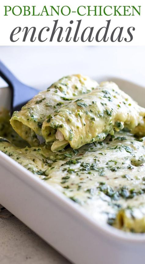 Creamy Poblano Chicken Enchiladas #peppers #poblano #chicken #rotisseriechicken #enchiladas #comfortfood #dinner #recipes #cooking