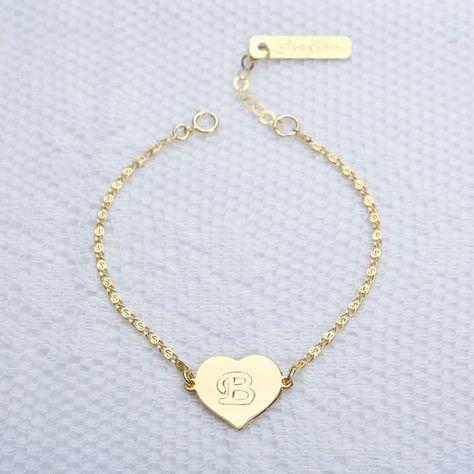 Initial Heart bracelet Personalized Gold Charm by meitaltoledo