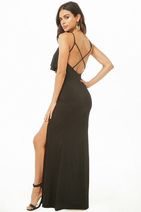 Flounce Slit Maxi Dress