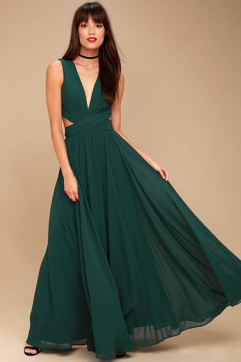 d54d7e9e0f Lulus Exclusive! Even your wildest dreams can come true in the Vivid  Imagination Forest Green Cutout Maxi Dress! Pleated chiffon sweeps into a  plunging ...