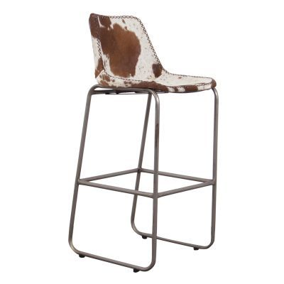 Cowhide And Leather Bar Stool