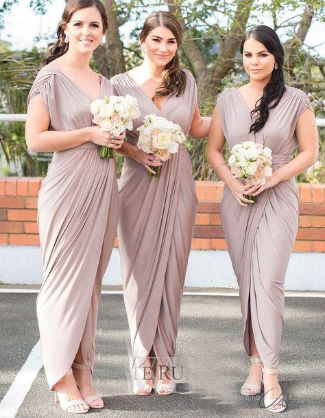 V Neck Grey Sheath Bridesmaid Dresses for Wedding Party