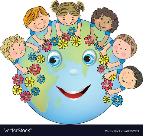 Children hugging planet earth vector image on VectorStock