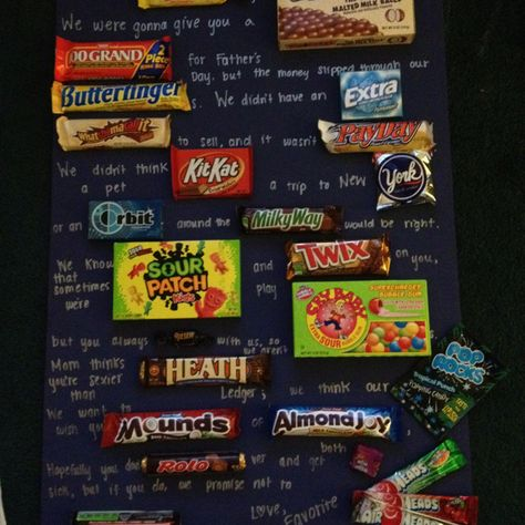 Dear SUGAR DADDY, we were gonna give you a WHOPPING 100 GRAND for Father's Day, but the money slipped through our BUTTERFINGERs. We didn't have an EXTRA WHATCHAMACALLIT to sell, and it wasn't PAYDAY. We didn't think a pet KIT-KAT, a trip to New YORK, or an ORBIT around the MILKY WAY would be right. We know that sometimes we're SOUR PATCH KIDS and play TWIX on you, but you always RIESEN with us, so we aren't CRY BABIES. Mom thinks you're sexier than HEATH Ledger; we think our POP ROCKS! We…