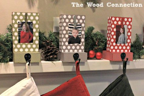 DIY: Photo Block Stocking Hangers but could use idea for jack hooks