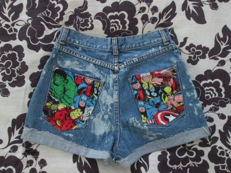 The Avengers Marvel Comic High Waisted Acid Wash Jean Shorts