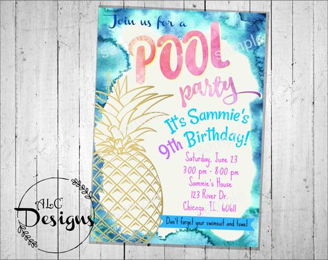 Pool Party InvitationDigital File Invite Pineapple Girl Birthday