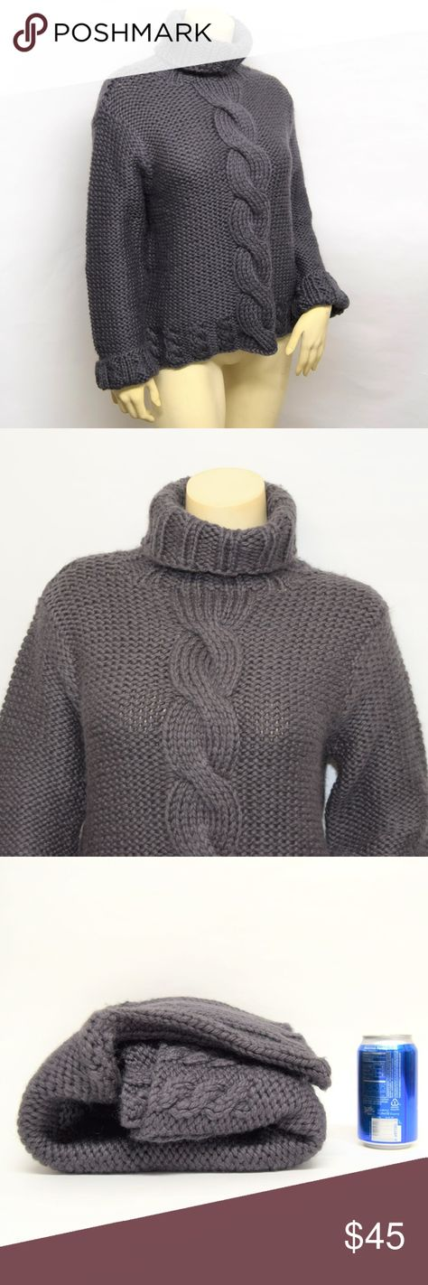 Willi Smith THICK Chunky CAble knit sweater L Willi Smith  - Handknit Womens gray wool Thick chunky cable knit turtleneck in excellent condition Willi Smith Sweaters Cowl & Turtlenecks