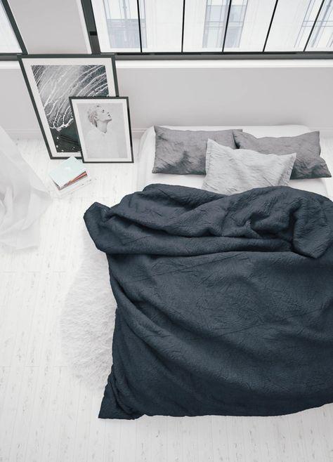 Minimalistic bedroom inspiration// Black and white