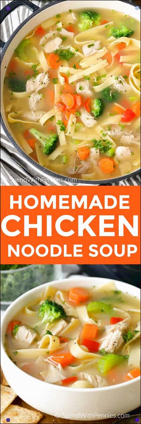 Homemade Chicken Noodle Soup Takes About 20 Minutes To Make This Hearty Soup Has Juicy Chicken, Tender Egg Noodles And Fresh Vegetables All Simmered In A Flavorful Chicken Broth. #Spendwithpennies #Chickennoodlesoup #Easyrecipe