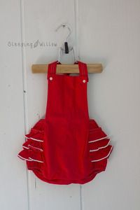 Image of Vintage Red Ruffled Bum Romper {9-12 Months size}