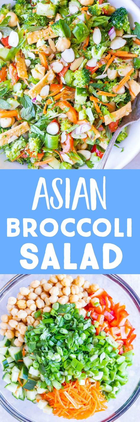 This Asian Broccoli Salad is light, flavorful and filling! It's made with all fresh veggies, chickpeas and a super easy Asian inspired homemade dressing. It's great for a light lunch that will leave you feeling satisfied or a healthy potluck side dish that everyone will love! #broccolisalad #asiansalad #sidesalad #nocookmeals