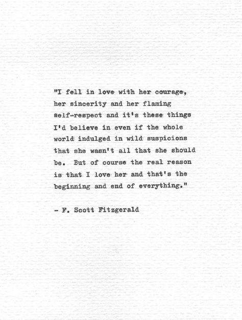 "F. Scott Fitzgerald Letterpress Quote ""I fell in love..."" Vintage Typewriter Romantic Print Hand Typ"