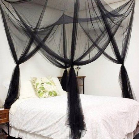 4 Corners Insect Bed Canopy Black Netting Curtain Mosquito Net All Sizes Home