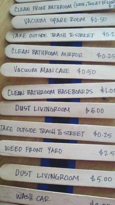 Incentive to help around the house... chores listed on popsicle sticks attached using velcro...