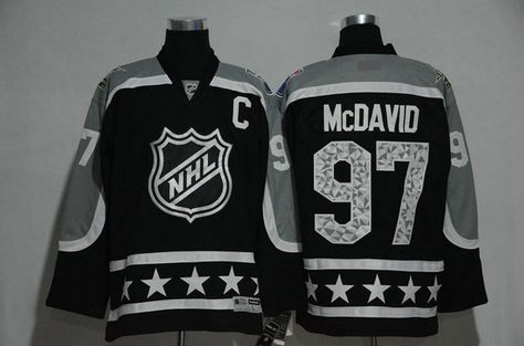Men's Pacific Division Edmonton Oilers #97 Connor McDavid Reebok Black 2017 NHL All-Star Stitched Ice Hockey Jersey