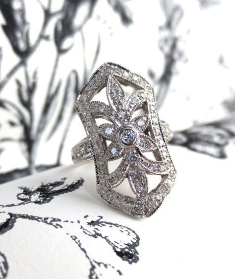 1950's 14kt White Gold and Diamond Flower Filigree Ring, $950.00