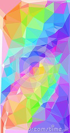 Rainbow Pixlate Pattern Of Triangle Design On White Background
