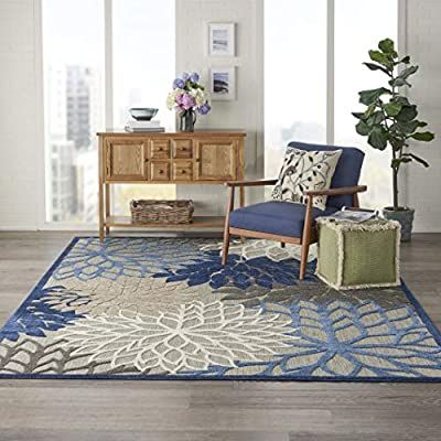 Amazon Com Nourison Aloha Indoor Outdoor Floral Blue Multicolor 7 10 X 10 6 Area Rug 8 X 11 7 In 2020 Indoor Outdoor Rugs Outdoor Rugs Indoor Outdoor Area Rugs