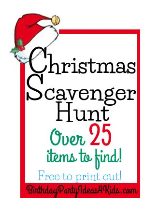 Christmas Scavenger Hunt List   Free to print out