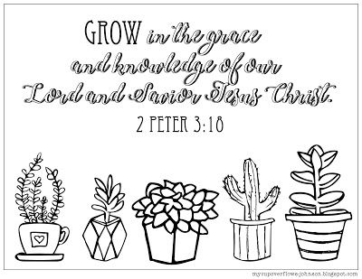2 Peter 3:18 plants coloring page
