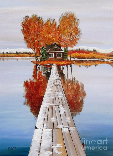 Remote Island Cabin Painting - Island Cabin 2 by Marilyn  McNish