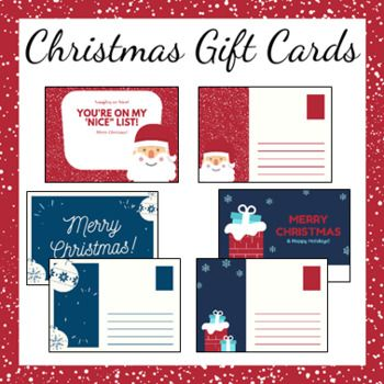Christmas Gift Cards Christmas Card Templates Christmas Gift Card Christmas Card Template Christmas Teaching Resources