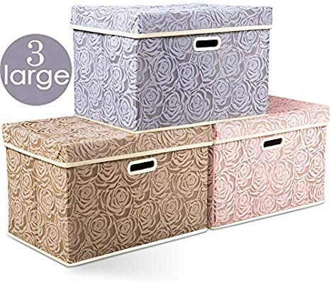 Prandom Large Stackable Storage Bins With Lids Fabric Decorative Storage Box Cubes Organ In 2020 Decorative Storage Boxes Stackable Storage Bins Storage Bins With Lids