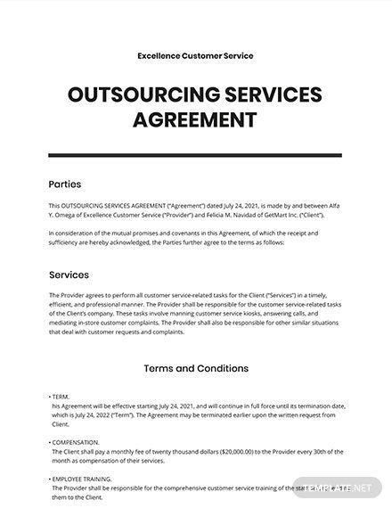 Free Outsourcing Services Templates Edit Download Template Net Separation Agreement Template Agreement Contract Template