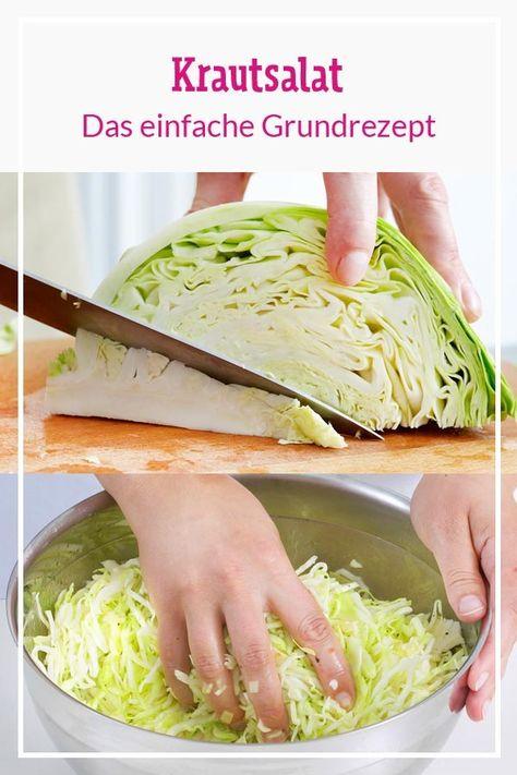 Mit 4 einfachen Schritten gelingt der Klassiker #Krautsalat ganz einfach. Nachzuschauen in unserem Video! #rezepte #salat #kalorienarmerezepte #einfacherezepte