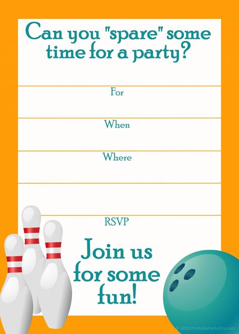 Bowling Birthday Party Invitation Template  Avery