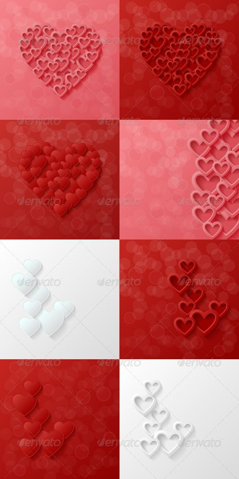 Set of abstract modern style love backgrounds. Vector illustration.