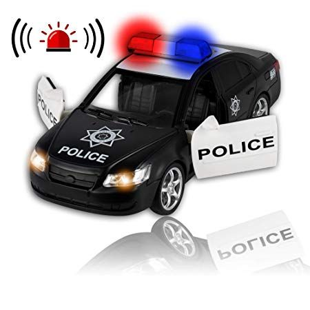 Friction Powered Police Car Push Go Heavy Duty Plastic Vehicle Toy Lights Siren Sounds Toy Police Cars Lights And Sirens Police Cars