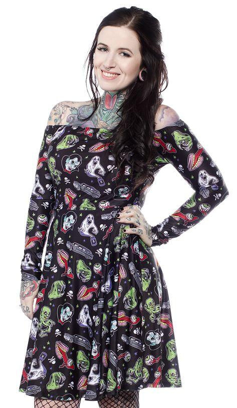 Sourpuss Undead Goth Punk Tattoos Coffin Spider Skull Off Shoulder Dress SPDR433