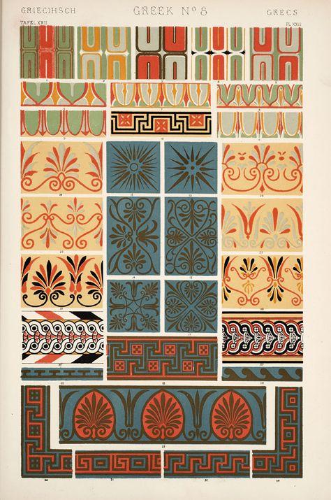 Decorative Arts: The grammar of ornament: [Greek ornament. Plates 15, 16, 17, 18, 19, 20, 21, 22]