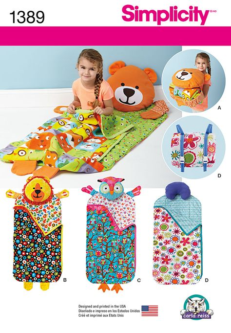Cuddle up to nap mats with built-in pillows, great for day care and play dates. Bear, owl and lion mats close with hugging elasticized arms and comfort pillow mat clips closed with shoulder straps. Mat rolls up and has shoulder straps for easy travel. DIY with Simplicity Sewing Pattern 1389.