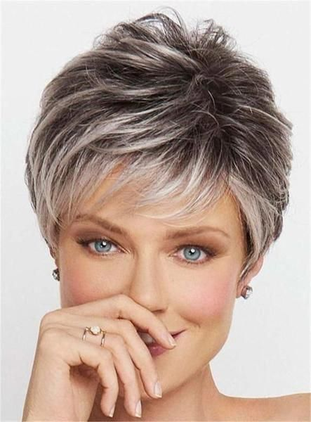 Hair Material Synthetic Hair Length Short Hair Texture Straight Cap Construction Caple Thick Hair Styles Haircut For Older Women Short Hairstyles For Women