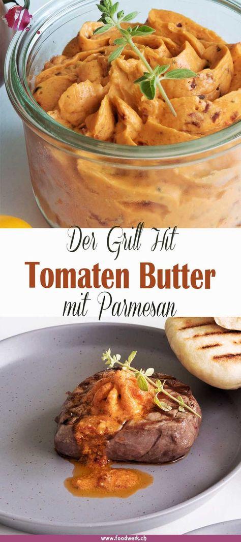 Kräuterbutter ist zu normal? Cafe de paris nicht ganz dein Ding? Knoblauchbutter zu extrem? Wie wäre es mit einer ganz anderen Gewürzbutter für auf das Grillgut? Die Tomatenbutter mit Parmesan ist unglaublich lecker und zudem sehr schnell zubereitet. So hast du ein ganz neues Geschmackserlebnis beim BBQ. Die Tomaten Butter kannst du auch super für den Brunch brauchen. Mit etwas frischem Brot kriegst du nicht genug davon. Versprochen! #Grill #BBQ #Tomaten #Kräuterbutter