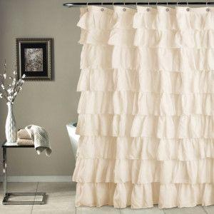 Shabby Chic Ruffled Shower Curtain Ivory Ruffle Shower Curtains