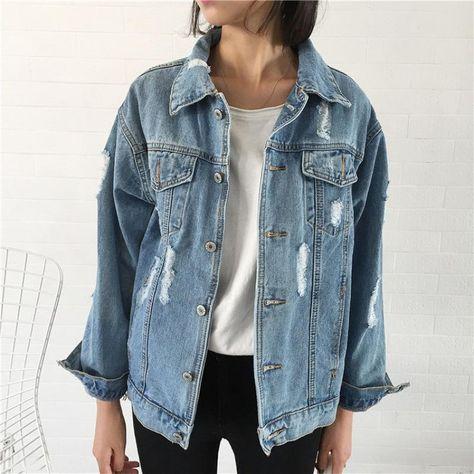 Women's Jackets Women Denim Jacket Long Sleeve Loose Denim