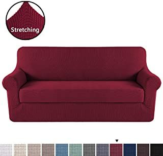 High Stretch Sofa Cover 2 Pieces Stylish Furniture Cover Protector Fit Sofa Width Up To 90 Inches In 2020 Furniture Covers Couch Covers Sofa Pillow Covers