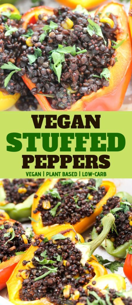Vegan Peppers Stuffed With Beluga Lentils And Red Quinoa