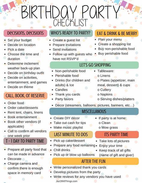 96 Birthday Party Planning Ideas