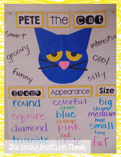 Pete the Cat - Language chart with adjectives to describe his groovy buttons.