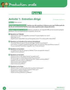 Delf Prim A1 1 Production Orale Activite 1 Oral Oral Francais Livret