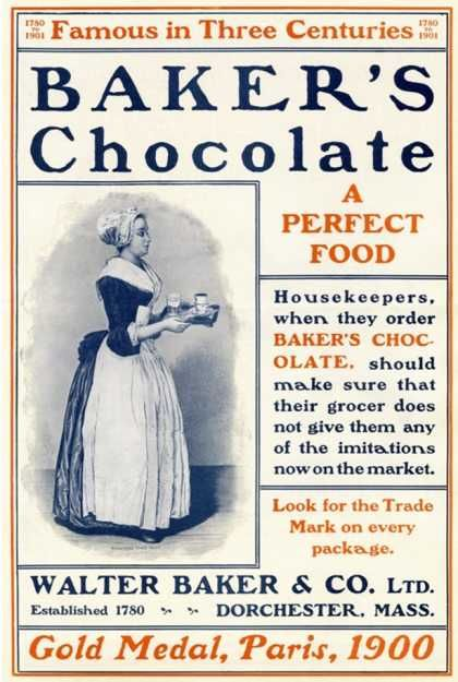 """Housekeepers, when they order Baker's Chocolate, should make sure they their grocer does not give them any of the imitations now on the market"""""""