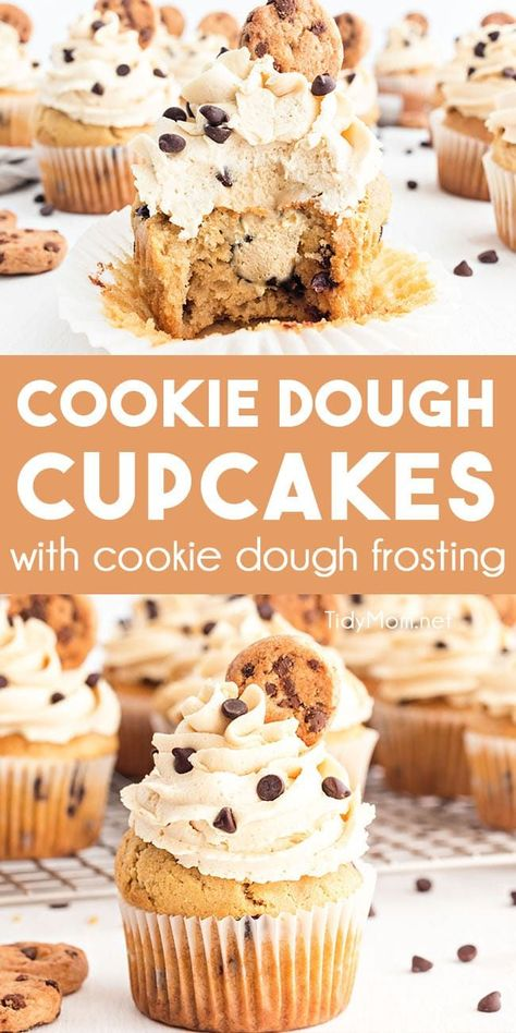 When you need a mind-blowing treat for any cookie dough lover, YOU MUST make these Cookie Dough Cupcakes. Stuffed with cookie dough and topped with an indulgent chocolate chip cookie dough frosting they are the ultimate treat for any occasion. Cookie Dough Cupcakes, Cookie Dough Frosting, Chocolate Chip Cookie Dough, Fun Cupcakes, Chocolate Cupcake Recipes, Baking Recipes Cupcakes, Chocolate Chip Frosting, Simple Cupcakes, Cookie Dough Cheesecake