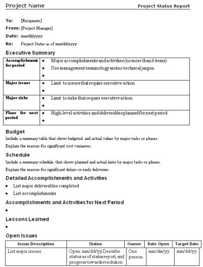 managerial report template